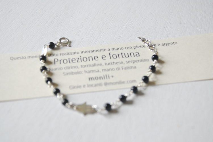 bracciale argento protezione fortuna tormaline nere