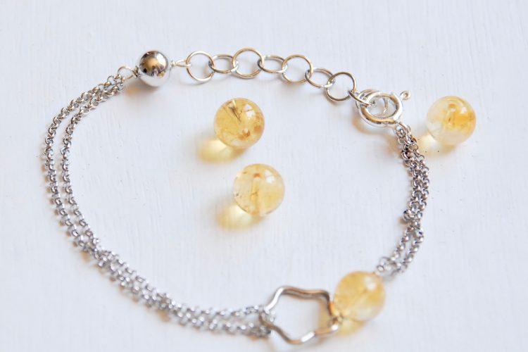 bracciale argento sagittario quarzo citrino