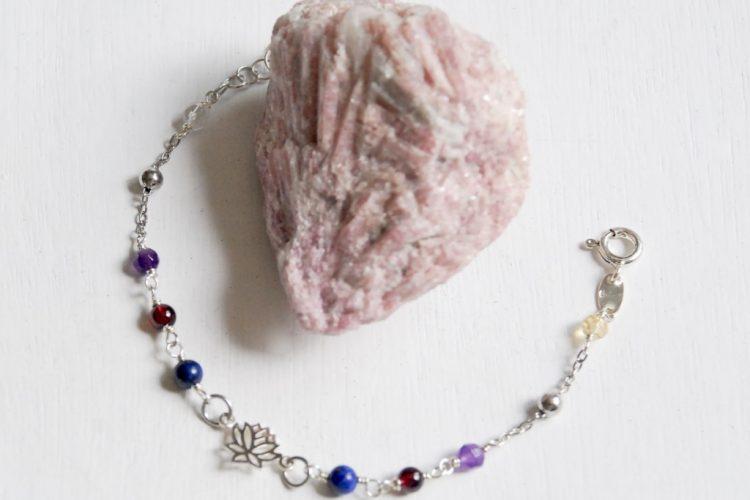 bracciale chiarezza mentale argento lapis granato ametista citrino cristallo fior di loto