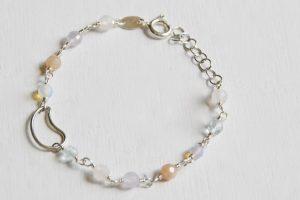 bracciale luna argento pietra di luna quarzo rosa ametista topazio azzurro