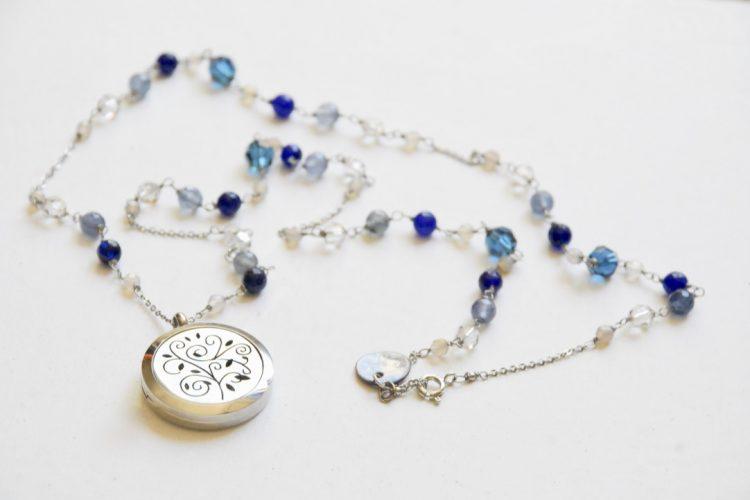 collana aromaterapia blu azzurra albero della vita