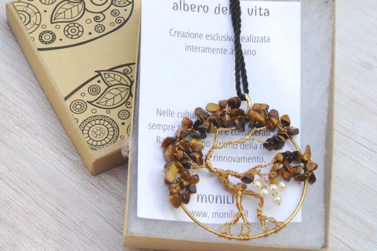 albero occhio di tigre perle oro