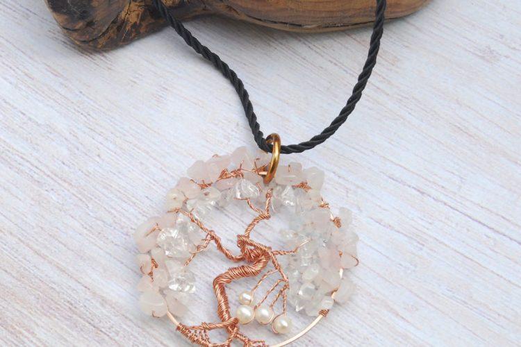 albero quarzo rosa cristallo perle