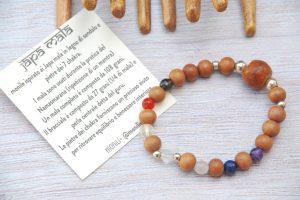 bracciale mala legno di sandalo argento pietre dei 7 chakra bodhi