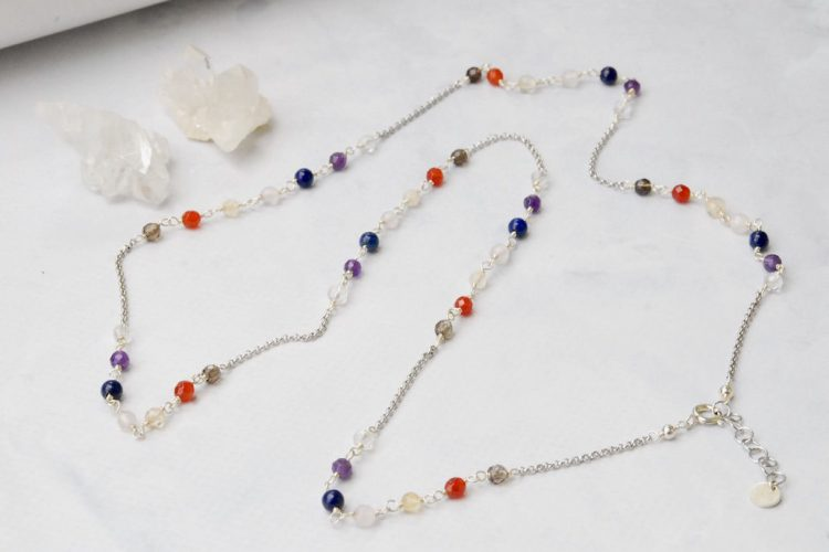 collana lunga pietre 7 chakra argento