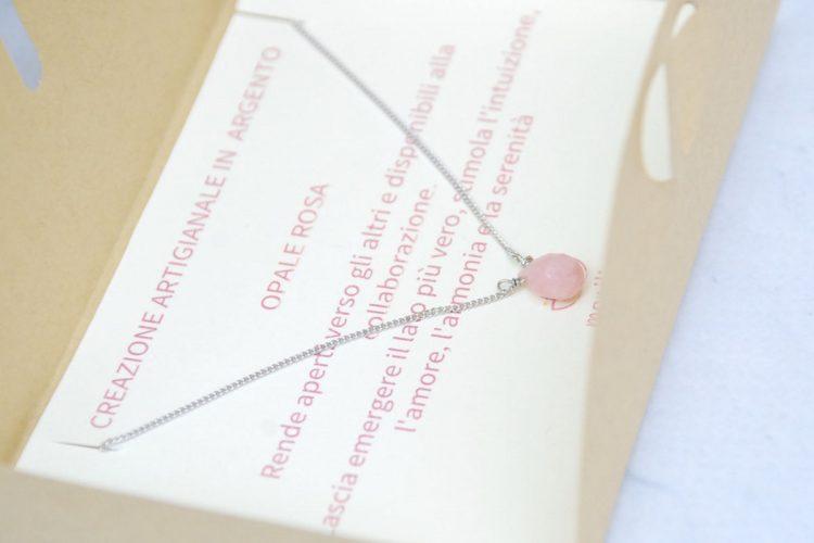 girocollo argento opale rosa