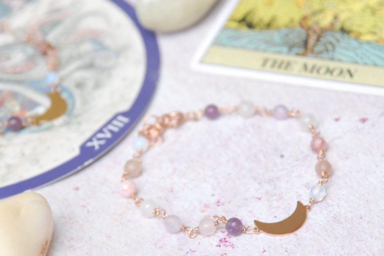 Bracciale luna crescente argento rosa pietre dure