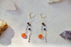 Orecchini argento e pietre dei 7 chakra