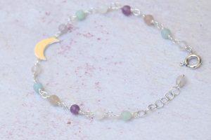 Bracciale pietre vere e argento luna crescente