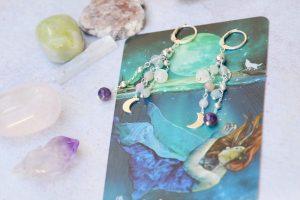 Orecchini pietre vere luna crescente argento