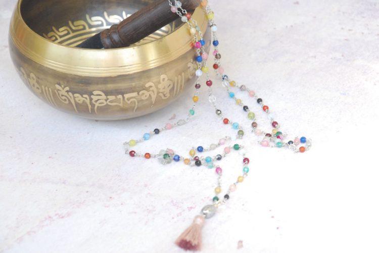 Mala collana pietre vere Buddha argento